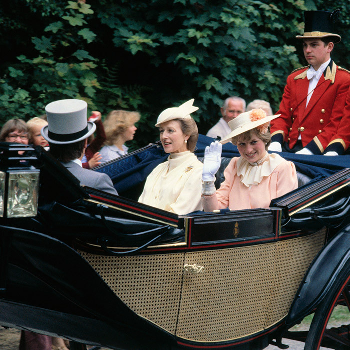 Here, Princess Diana, then-Lady Diana, arrives at Royal Ascot in 1980. The royal and her family were frequent guests at the annual event.  