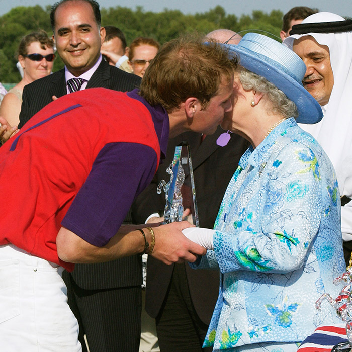 The following year in 2004, Prince William greeted the Queen after his polo match at Windsor Great Park during Royal Ascot. 
