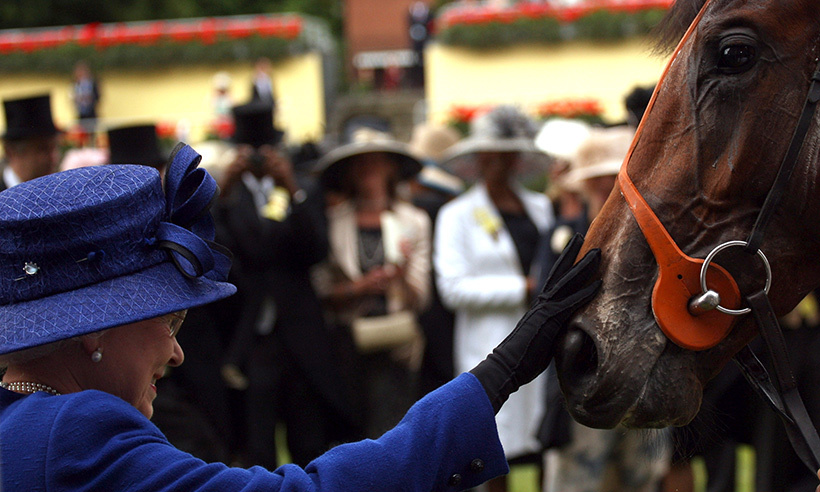 Job well done! Here, the Queen pets her horse, Free Agent, following a win during The Chesham Stakes race at Ascot in 2008.