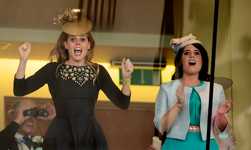 The Queen's granddaughters Princess Beatrice and Princess Eugenie couldn't contain their excitement as they watched Estimate race to victory. 