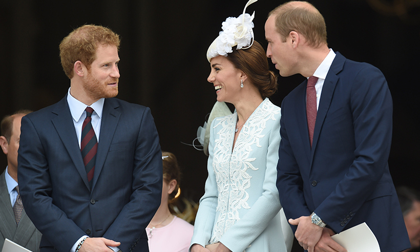 The trio shared a laugh following a service of thanksgiving in honour of the Queen's 90th birthday at St. Paul's Cathedral.