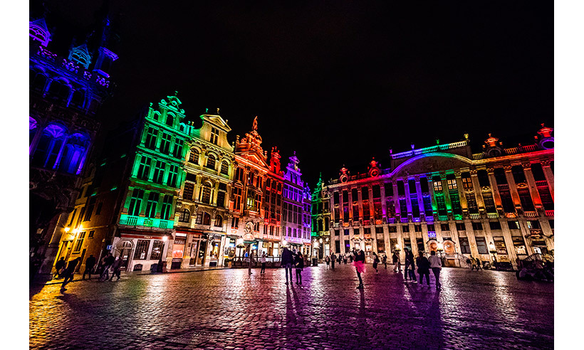 Brussels' heritage buildings were set a glow in a colourful show of support and solidarity. 