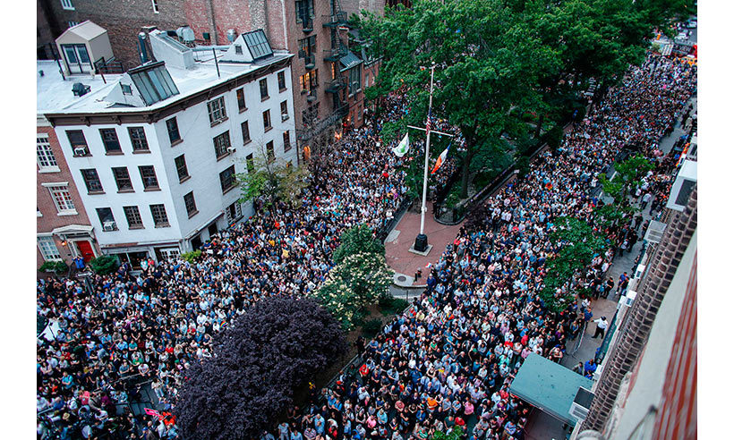 Thousands gathered outside Manhattan's historic Stonewall Inn to take part in a vigil. 
