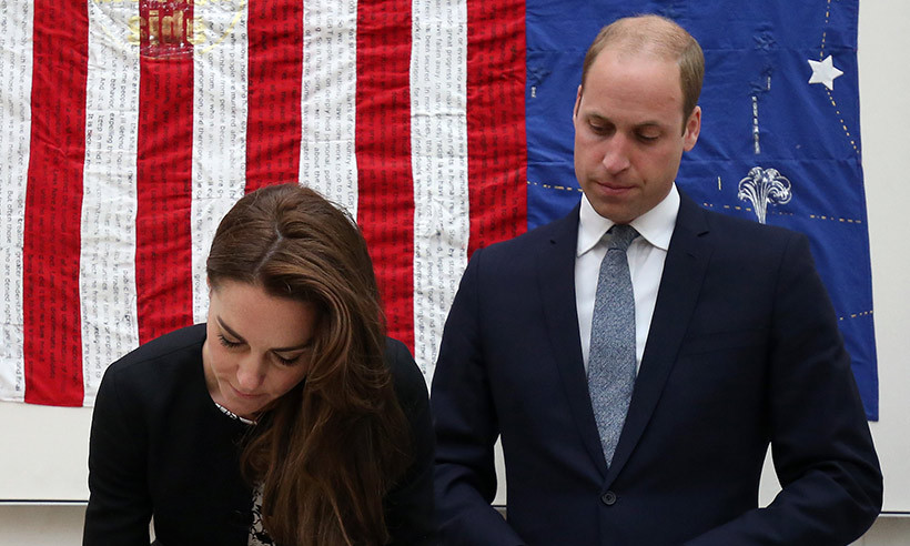 The Duke and Duchess of Cambridge signed a book of condolences at the US Embassy in London. 