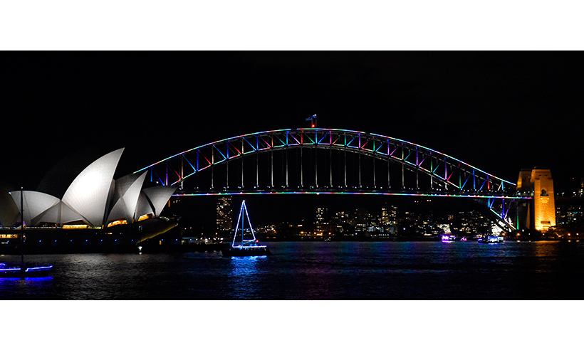 Sydney's Harbour Bridge was illuminated in the colours of the rainbow flag. 