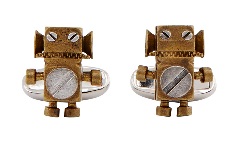 "<strong>Paul Smith Tin Toy Robot Cufflinks</strong>, $160, <a href=""_blank"" target=""_blank"">holtrenfrew.com</a>"