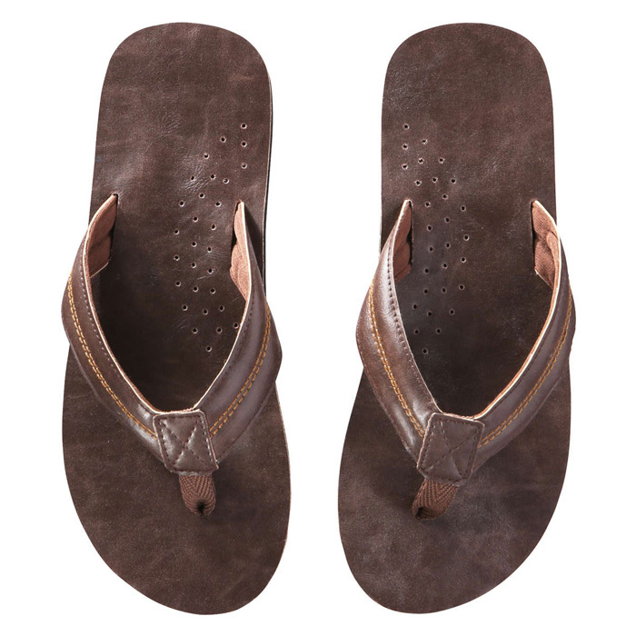 "<strong>Mens Faux Leather Flip Flops in Dark Brown</strong>, $15, <a href=""http://joefresh.com"" target=""_blank"">joefresh.com</a>"