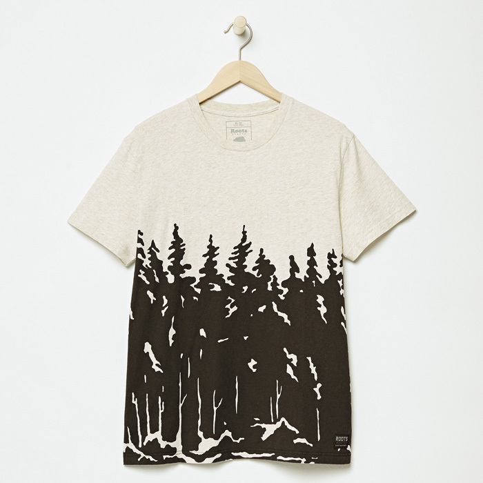 "<strong>Treeline T-shirt</strong>, $38, <a href=""http://roots.com"" target=""_blank"">roots.com</a>"
