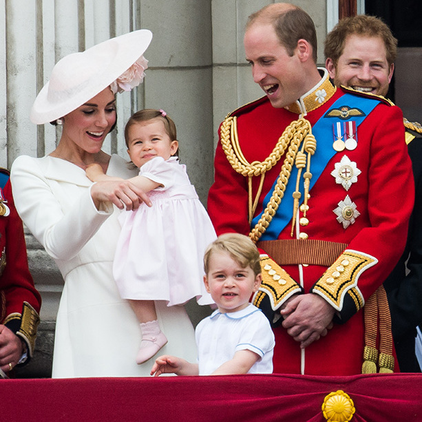 Charlotte looked pretty in pink for her debut at Trooping the Colour in 2016. The little princess joined her big brother Prince George and the rest of her family on the balcony of Buckingham Palace. 