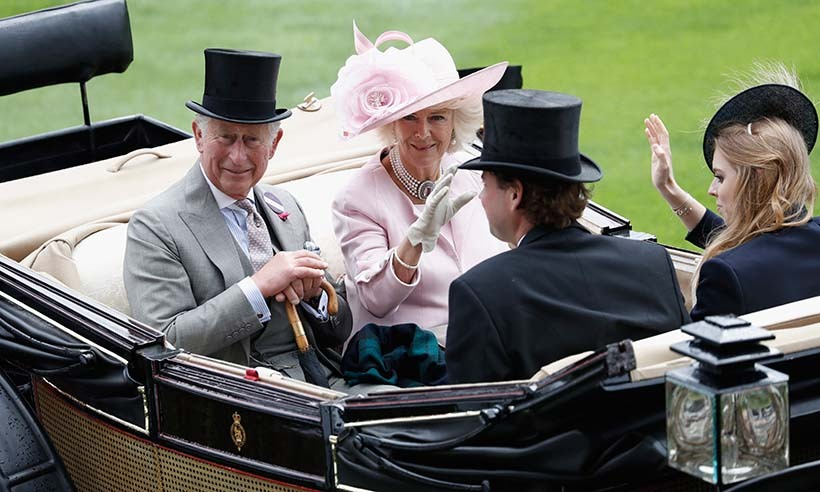 Prince Charles, the Duchess of Cornwall and Princess Beatrice arrived together on the opening day of the racing event. 