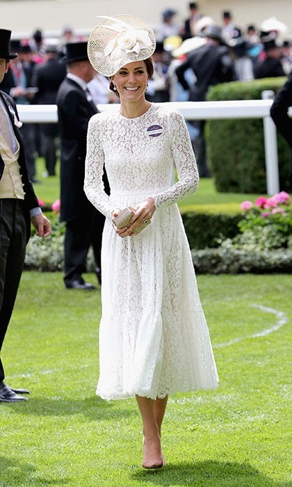The Duchess of Cambridge made her Ascot debut in an eye-catching lace dress by Dolce & Gabbana. 