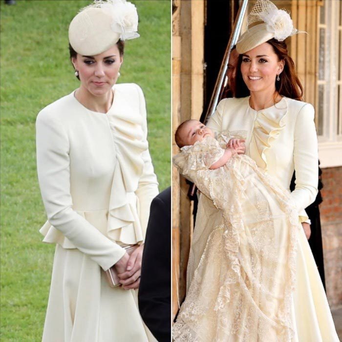 Repeat for tea with the Queen. Kate recycled her cream Alexander McQueen ensemble for a garden party hosted by Her Majesty at Buckingham Palace. The stylish royal first stepped out in the elegant attire, which she paired with a Jane Taylor pillbox hat, back in 2013 for Prince George's christening. For the 2016 garden party, she swept her hair up, and added pearl earrings and a box clutch.