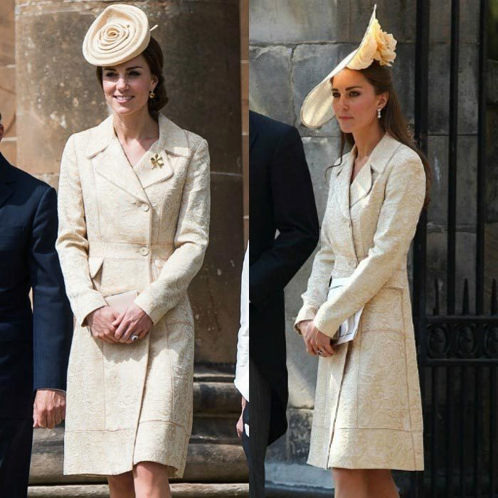 Kate made a sunny appearance at the Secretary of State for Northern Ireland's garden party on June 14, recycling her gold brocade coat dress by DAY Birger et Mikkelsen for the occasion. The stylish royal previously wore the feminine piece to Zara Phillips and Mike Tindall's wedding back in 2011, however for the garden event, Prince George's mom paired the lovely coat with a rose pill-box hat from Lock & Co.