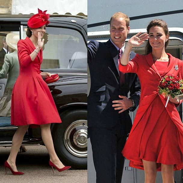Kate recycled this Catherine Walker number for her appearance at the Order of the Garter service at Windsor Castle on June 13, 2016 (left). The Duchess was previously seen wearing the ensemble five years ago during the final day of her royal tour of Canada with Prince William in 2011. Kate also recycled her Lock & Co headpiece, which was previously worn during the Diamond Jubilee Thames River Pageant back in 2012. To complete the look, she accessorised with her earrings she wore on her wedding day.