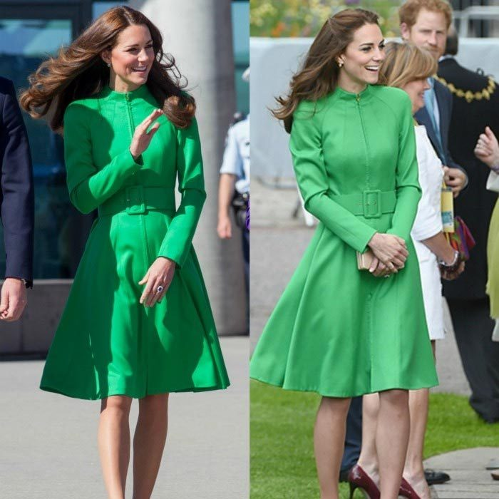 Double take! Kate first wore this green Catherine Walker coat dress during her royal tour of Australia in 2014, left. She must have loved the look, because she nearly duplicated it – though with her signature blowout – in spring 2016 during the duchess's first appearance at the Chelsea Flower Show. 