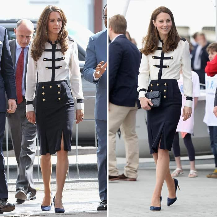 Almost identical looks! Attending a fun sailing engagement in May 2016, Kate chose one of her favorite Alexander McQueen skirt and top combos. The Duchess was spotted wearing this exact same outfit, including the same shoes and accessories, five years ago in Birmingham during a joint engagement with Prince William.