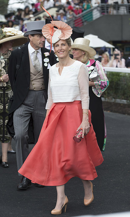 The Countess of Wessex wore a stunning coral skirt on day three of Ascot. 