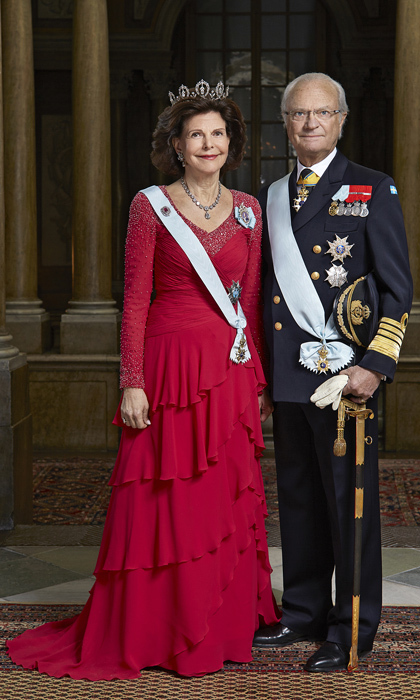 Today the royal couple looks happier than ever. In this official portrait, released along with three others to mark the King's 70th birthday, the pair are dressed to the nines and look exceptionally regal. Two of the portraits featured Carl alone and two included his loving wife.  