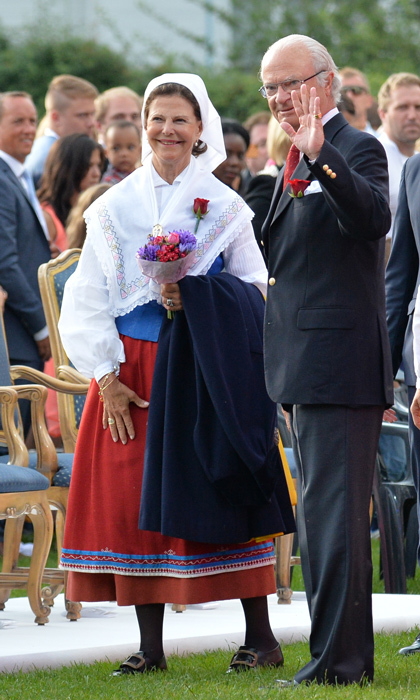 The royal couple waved and smiled at the crowds as they attended the Victoria Day celebrations – in honour of their oldest daughter – at the family's Borgholm-based summer residence of Solliden Castle in July 2013. 
