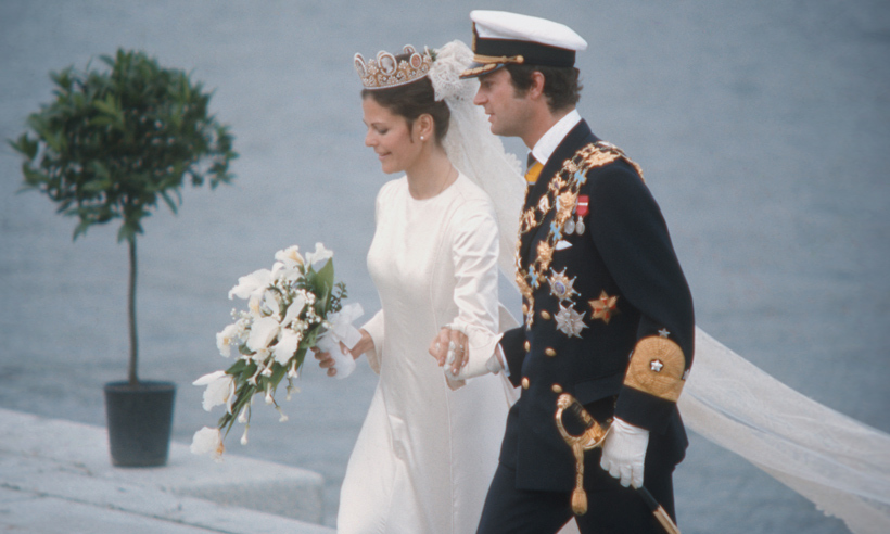 "The delighted King held hands with his bride after their ceremony. When asked about the type of woman he would like to marry, Carl said: ""She may be a secretary or a government official. That does not matter. The important thing is love."" 