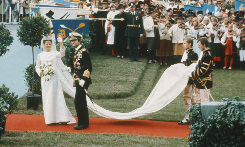 Sweden's King Carl XVI Gustaf married the love of his life Silvia Sommerlath on June 19, 1976 at Stockholm Cathedral. The German-born bride spent many of her formative years in Brazil before returning to Germany in 1957. Silvia was working as an educational host at the 1972 Olympics when she first encountered Sweden's future King.