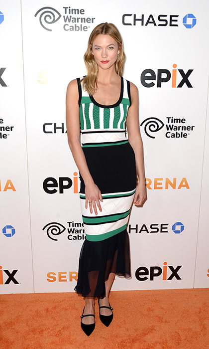Karlie Kloss is chic and fresh in this geometric Prabal Gurung summer dress with a chiffon-ruffle skirt detail and pointy black flats at the <em>Serena</em> film premiere.