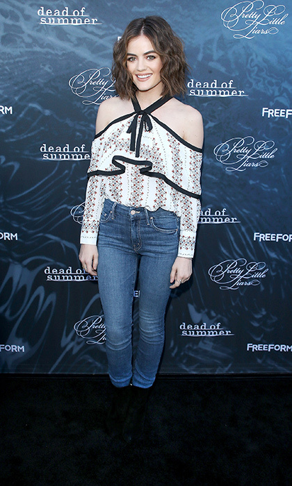 Lucy Hale keeps her style pretty and relaxed in a Storets blouse and skinny jeans at the <em>Pretty Little Liars</em> premiere party. 