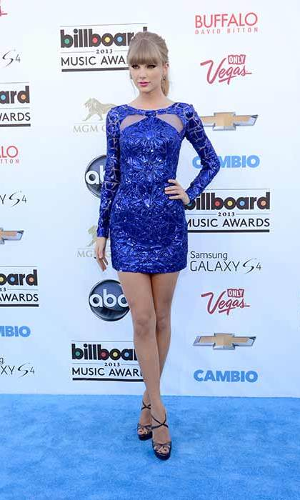 Never afraid to go for a pop of colour, Taylor looked stunning in a royal blue sequinned dress at the 2013 Billboard music awards.