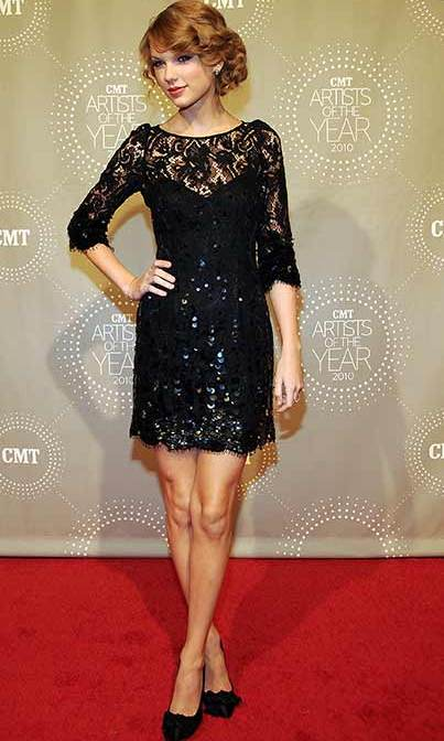 Taylor rocked a little black dress at an event in 2010, adding a girly twist with lace and sequinned detail.