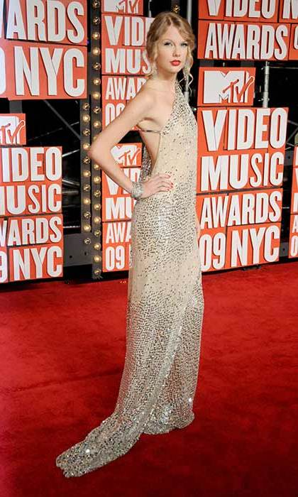Taylor wore a stunning sequinned gown for the 2009 MTV Video Music Awards, where she famously was interrupted by Kanye West during her acceptance speech for Best Female Video.