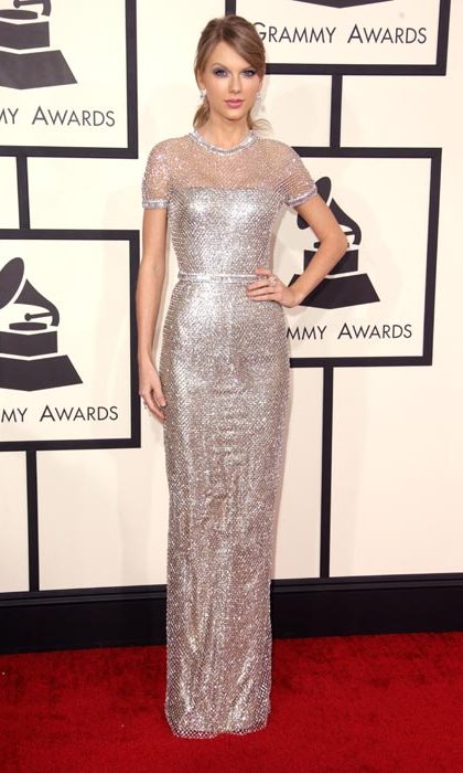 Dazzling in silver sequins at the Grammy awards.