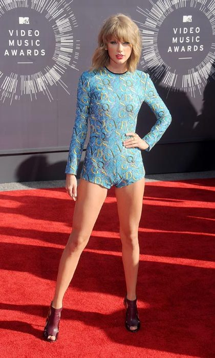 Arriving at the MTV video awards in a daring pale blue bodysuit.