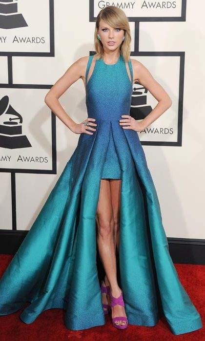 Tapping into the 'mullet dress' trend at the Grammy awards.