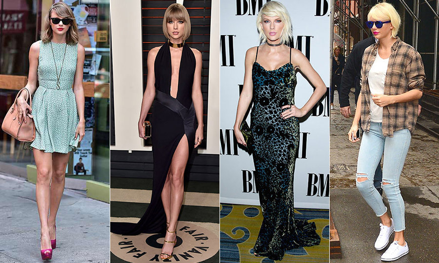 From her dirty blond bob and preppy ensembles to an edgier bleached blond 'do and nineties grunge accessories, Taylor Swift is always one to watch when she steps out for awards shows and event. Here, we've rounded up the singer's greatest style hits. Click through the gallery to see them all...