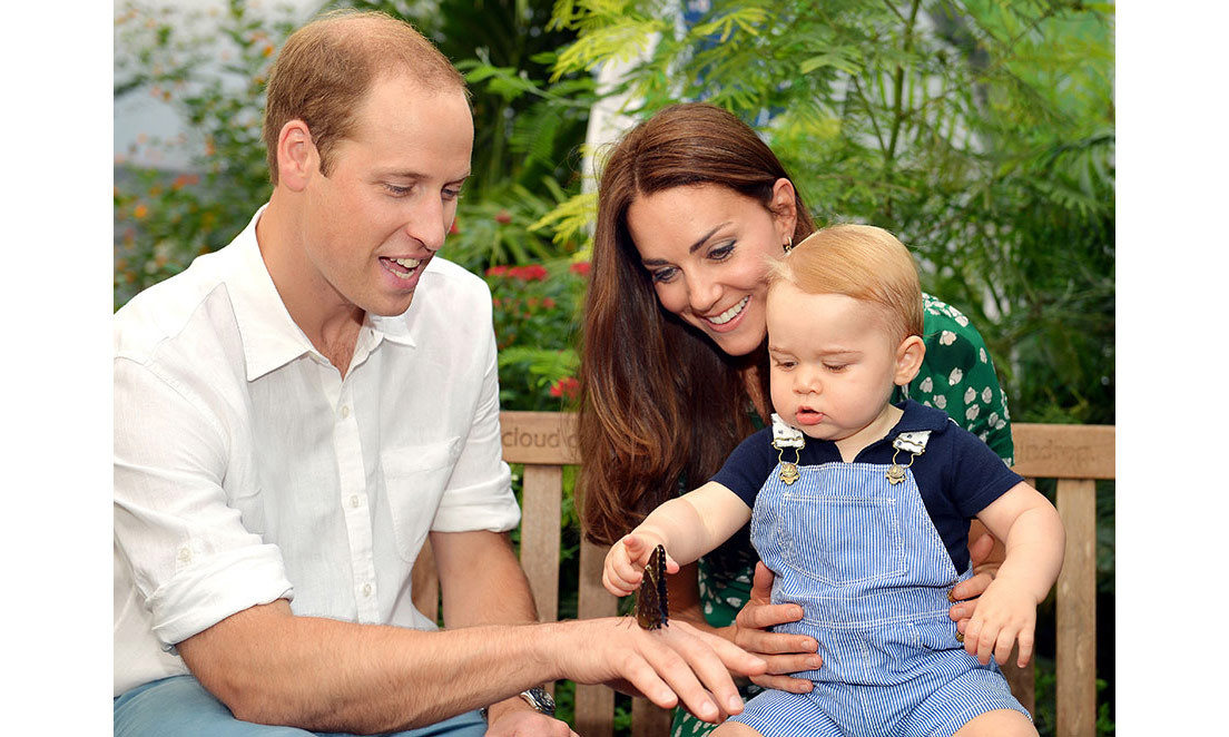 "For his first birthday portraits, the trio visited the ""Sensational Butterflies"" exhibit at London's Natural History Museum.