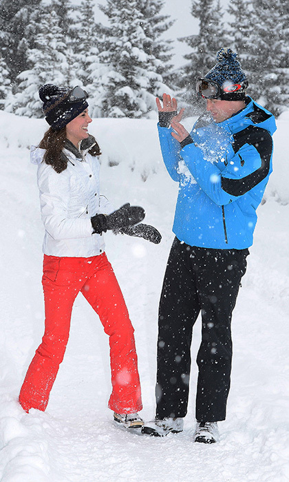<p>The lovebirds showed off their playful sides during an official photoshoot in March 2016. Kate giggled as she successfully hit William in the chest with a snowball, while another picture showed the Prince attempting to prise a snowball from his wife's hand.</p>