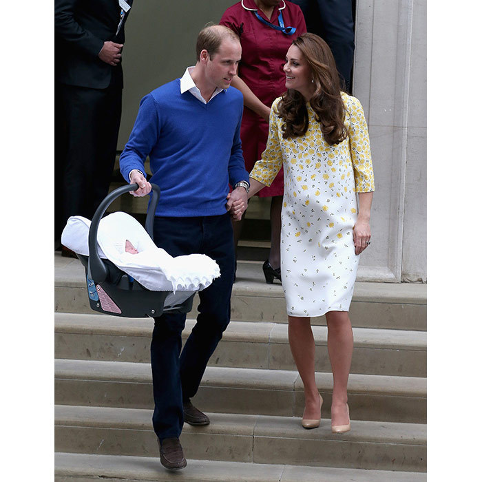 As the duo later left St Mary's hospital in Paddington, William showed his gentlemanly side and helped his wife down the steps. Kate had given birth just ten hours earlier to the couple's baby girl, Princess Charlotte, who was fast asleep and swaddled in a white blanket.