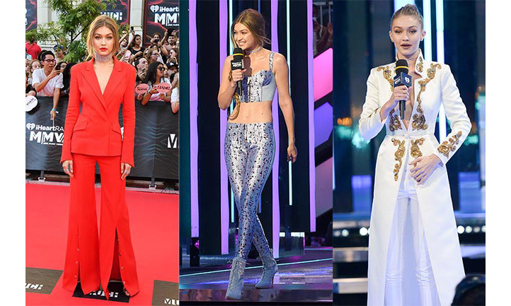 Gigi Hadid was the hostess with the mostess at the iHeartRadio Much Music Video Awards in Toronto on Sunday night (June 19), making her second appearance at the city's annual music extravaganza. The Victoria's Secret model wowed the crowds with not just one but six different outfit changes as she took on her first hosting gig at the Canadian awards show.