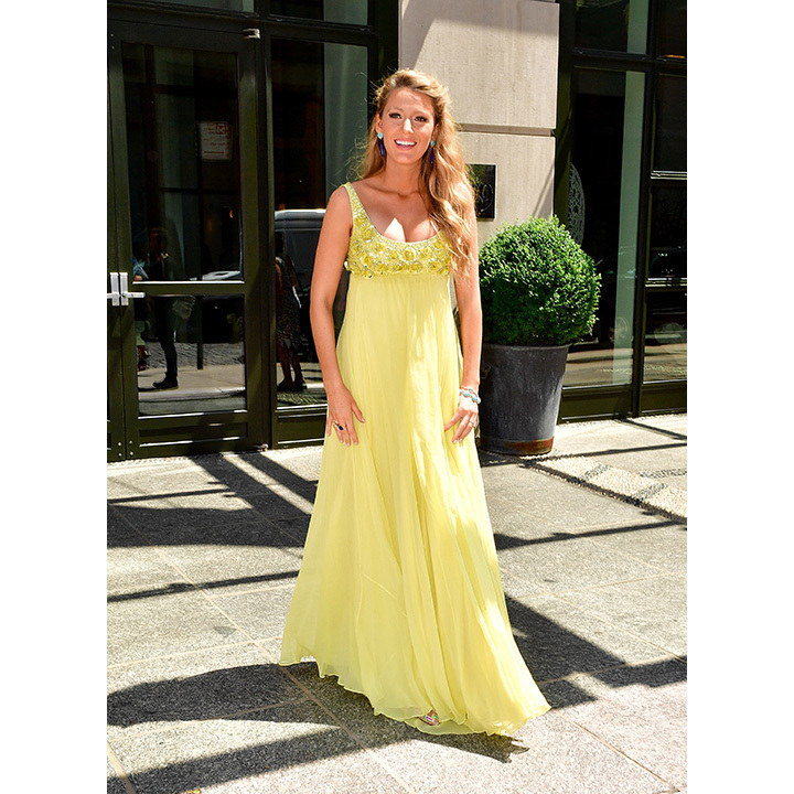 After taping an interview on <i>TODAY</i>, the future mother of stepped out in an elegant yellow Jenny Packham gown. 