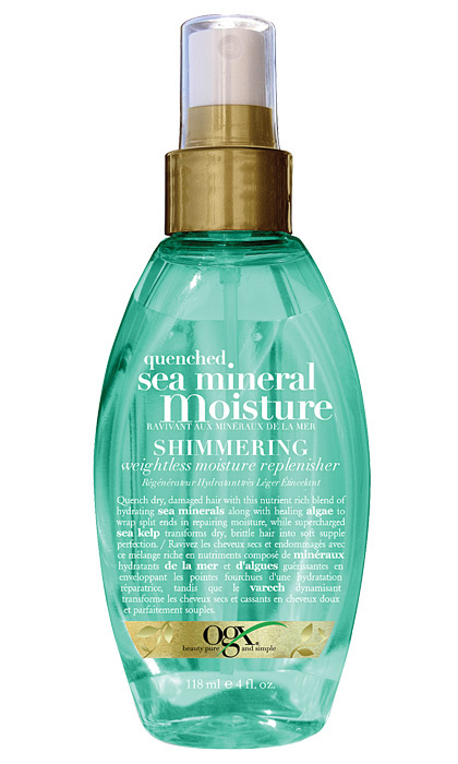 <strong>OGX Quenched Sea Mineral Moisture Shimmering Weightless Moisture Replenisher</strong>, $10, at Walmart, Shoppers Drug Mart and Jean Coutu