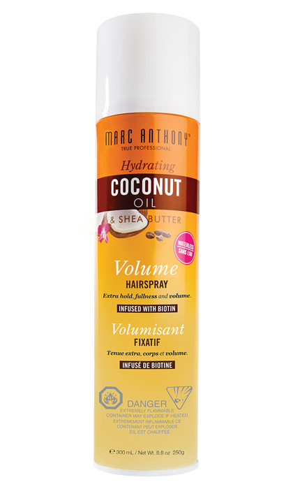 <strong>Marc Anthony Coconut Oil &amp; Shea Butter Hairspray</strong>, $10.99. Available at drugstores and mass-market retailers