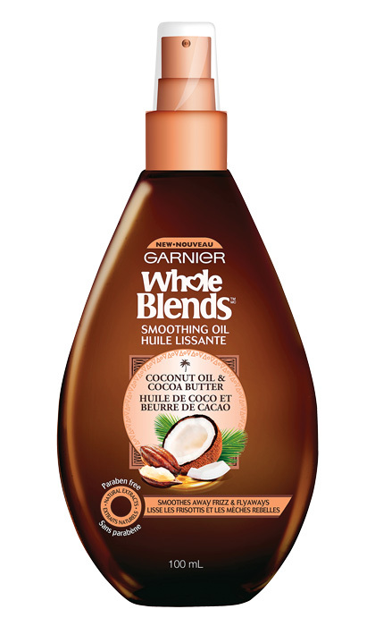 <strong>Garnier Whole Blends Coconut Oil &amp; Cocoa Butter Smoothing Oil</strong>, $9, at drugstores and mass-market retailers