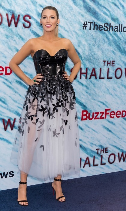 Blake wore a black-and-white Carolina Herrera midi dress to the premiere of <em>The Shallows</em> complete with Christian Louboutin heels and jewelry by Lorraine Schwartz. 