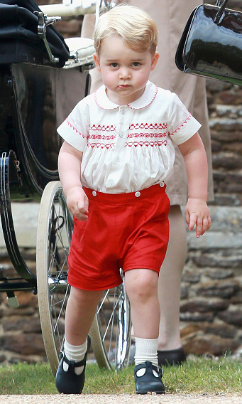 July 2015: This Prince means business! Although the day was dedicated to the christening of his little sister Princess Charlotte, Prince George was the center of attention during the event in England.