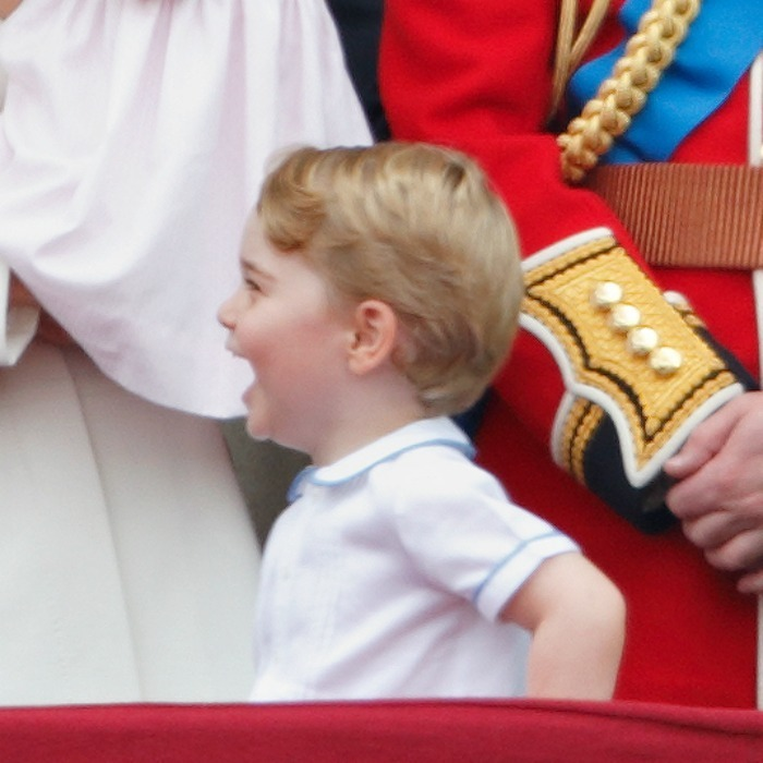 June 2016: Prince George couldn't contain his excitement, laughing on the balcony of Buckingham Palace for the Trooping the Colour.