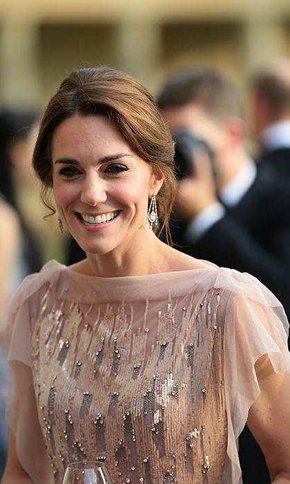 The Duchess wore a pair of earrings loaned to her by the Queen.