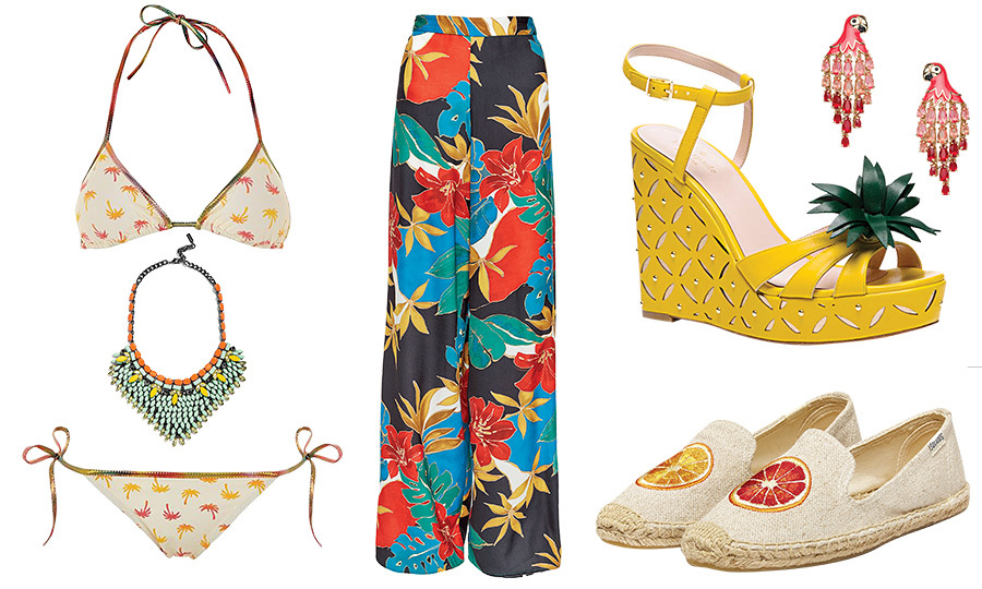 From palm trees and banana leaves to hibiscus blooms, tie-dyes and parrot-prints – these vibrant patterns bring the rainforest to even the most urban locations this summer. We looked to stars like Demi Lovato, Rosario Dawson and Kate Beckinsale for inspiration. Click through to see our gallery of tropical must-haves...