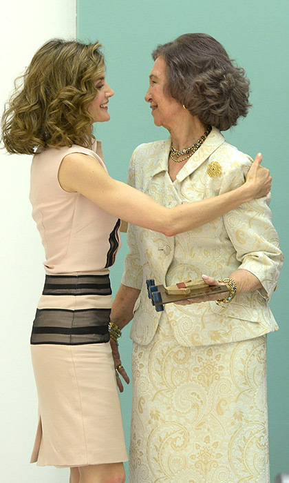 Queen Letizia embraced Queen Sofia at the anniversary. 