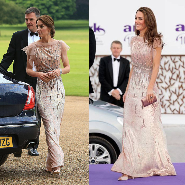 Kate resurfaced her sequin-embellished Jenny Packham number for the East Anglia's Children's Hospices' Nook Appeal dinner on Jun. 22 2016. The mother of two first wore the dazzling gown at ARK's 10th Anniversary Gala Dinner in London in 2011. And while she carried the same Prada clutch and wore the same LK Bennett shoes as the first time around, Kate updated the look with some chandelier earrings on loan from the Queen and tied her hair up in an elegant chignon 