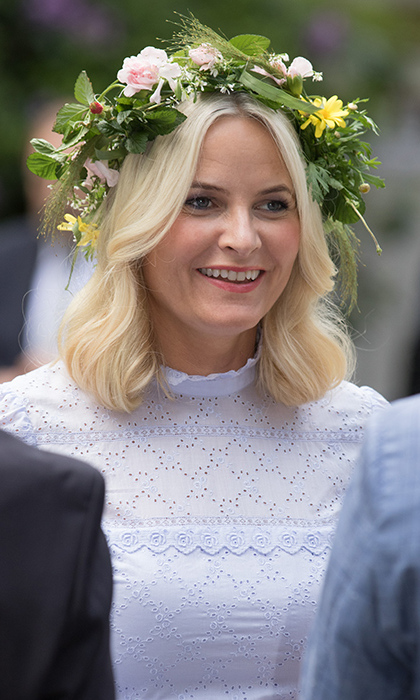 The Crown Princess looked pretty in a floral crown.
